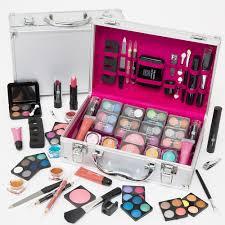 54 pcs make up set vanity case beauty silver cosmetics storage box nails kit