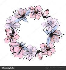 Girly Designs Pink And Purple Floral Frame Tender Spring Seamless