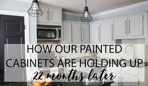kitchen cabinets paintHows It Holding Up DIY Painted Kitchen Cabinets Update