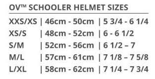 Ovation Helmet Size Chart Deluxe Schooler Helmet Ovation