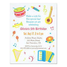 kids birthday party invitations colourful music instruments kids birthday party invitation