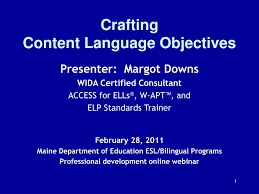 Wida Growth Charts Ppt Crafting Content Language Objectives Powerpoint
