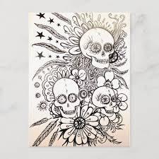 sugar skull day of dead tattoo art post