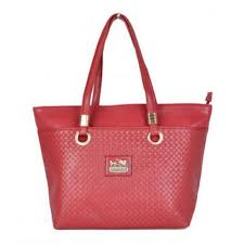 Coach Knitted Logo Medium Red Totes DXD