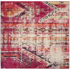 safavieh monaco kolby magenta square indoor distressed area rug common 5 x 5