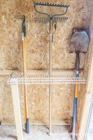 wire shelving for rakes and shovels easy and inexpensive ways to organize garden tools