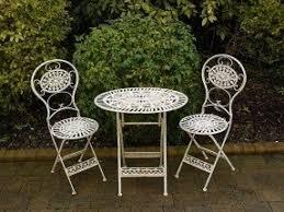 white garden furniture. small bistro table and chairs wrought iron white garden furniture
