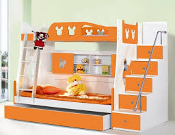 kids bunk beds with stairs orange bunk beds with stairs plus drawers for  saving blankets for
