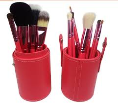 12 pcs red black blue superior professional deluxe soft cosmetic travel makeup brush pot conner