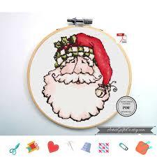 Merry Christmas Cross Stitch Pattern Pdf Santa Claus Cross