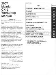 2007 mazda cx 9 repair shop manual original