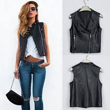 fashion women leather vest pu sleevess motorcycle vest waistcoat rivet colete female waistcoat biker gilet jacket outwear