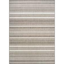 Anguila Stripe Gray/Beige Indoor/Outdoor Area Rug