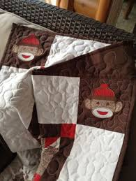 Sock Monkey Quilt and Pillow Set | Sewing | Pinterest | Monkey ... & Sock monkey baby quilt by sewsosweetdesigns on Etsy, $125.00 Adamdwight.com