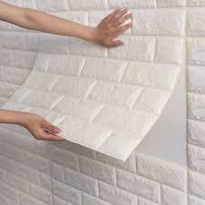 Brick wall paneling, White brick wallpaper