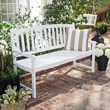 Coral Coast Pleasant Bay Curved Slat-Back Outdoor Wood Bench - White |  Hayneedle