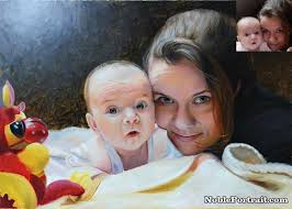 mother child oil portrait