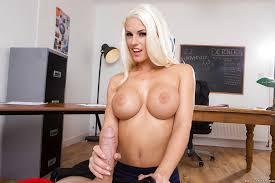 Hot blonde teacher handjob