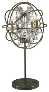 foucault s orb 4 light cage crystal table lamp antique bronze clear crystal