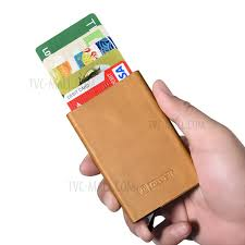 icarer genuine leather id credit card case box khaki 1
