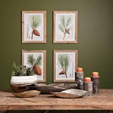 rustic pine tree and pine cone wall art set of four on wood pine tree wall art with rustic pine tree and pine cone wall art set of four woodwaves