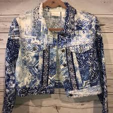 Chico S Beaded Jean Jacket Size 1