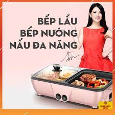 Bếp nướng điện, bếp lẩu nướng 2 ngăn mini, có ngăn nướng và ngăn lẩu - Nồi  lẩu điện