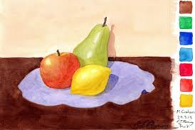 drawings and the like today i decided i d attempt a still life of some fruit from imagination i used only the seven colours on the right of the image
