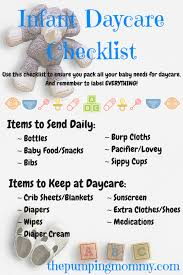 list of items needed for baby infant daycare checklist what to pack and label the pumping