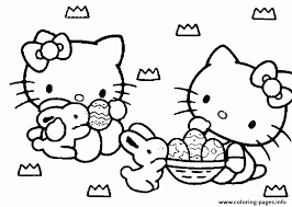 Hello Kitty And Easter Eggs 0d98 Coloring Pages Printable