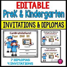 Prek Diploma Prek And Kindergarten Graduation Diplomas And Invitations Editable