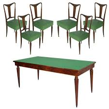 paolo buffa style mid century italian dining room table gl top and six chair