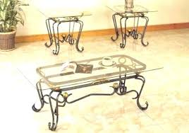 glass iron coffee table round wrought top with legs