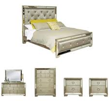 piece emmaline upholstered panel bedroom: celine  piece mirrored and upholstered tufted king size bedroom set