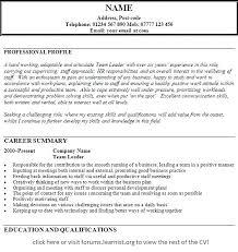 Resume Of Team Leader Team Leader Resume Sample Bpo Restaurant Shift Letsdeliver Co
