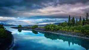 widescreen backgrounds evening on the blue lake tekapo desktop wallpaper hd widescreen free