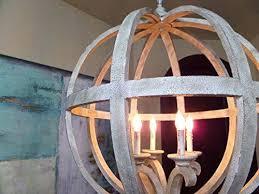 round wood chandelier antique