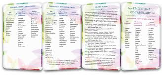 Emotion Words Chart Emotional Vocabulary Lists