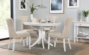 gallery hudson round white extending dining table with 4 bewley oatmeal chairs