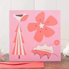 Pink Christmas Card Pink And Red Christmas Collage Card Pack By Gabriella Buckingham