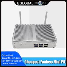 Giá Rẻ Nhất Nhỏ TV Box Mini PC Windows 10 Quạt Không Cánh Barebone PC Intel  N3150 Quad Core Max 2.08GHz 2 * lan 2 * HDMI 4K Máy Tính HTPC