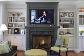 living room ideas with fireplace and tv. Inspiration For A Timeless Medium Tone Wood Floor Family Room Remodel In San Francisco With Gray Living Ideas Fireplace And Tv