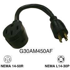 rodale 1 ft 30 amp generator male 4 prong to rv 50 amp female 30 amp generator male 4 prong to rv 50 amp female adapter g30am450af the home depot