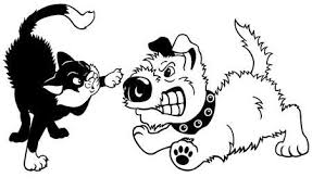 dog and cat black and white.  And Dog And Cat Fightingcartoon Illustration Isolated On White Backgroundblack  Vector Picture In Dog And Cat Black White E