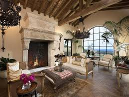Mediterranean Living Room Design Mediterranean Living Room With Stone Fireplace Exposed Beam In