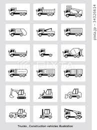 トラック 運搬車 重機 作業車 イラストセットのイラスト素材 34326614