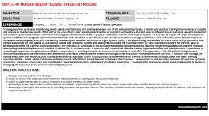 Training Specialist Resume Hr Trainer Senior Training Specialist Job Letter Resume