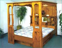 Queen Wood Canopy Bed Frame Dark Lovely With House Plan Make A All K ...