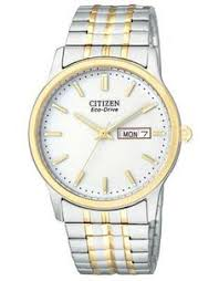 precision by gruen men s two tone expansion watch products citizen mens eco drive expansion band two tone white dial day