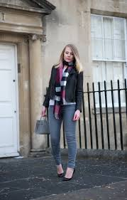 what i was wearing jacket allsaints jeans j brand scarf burberry shoes louboutin bag saint lau watch daniel wellington
